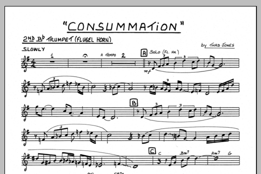 Thad Jones Consummation - 2nd Bb Trumpet sheet music preview music notes and score for Jazz Ensemble including 1 page(s)