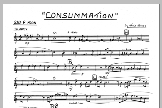 Thad Jones Consummation - 2nd F Horn sheet music preview music notes and score for Jazz Ensemble including 1 page(s)