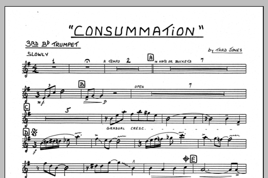 Thad Jones Consummation - 3rd Bb Trumpet sheet music preview music notes and score for Jazz Ensemble including 1 page(s)