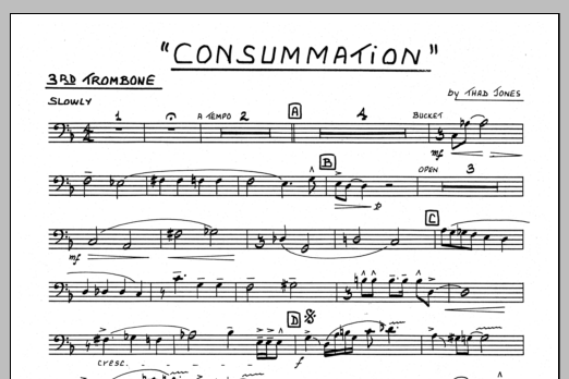 Thad Jones Consummation - 3rd Trombone sheet music preview music notes and score for Jazz Ensemble including 1 page(s)