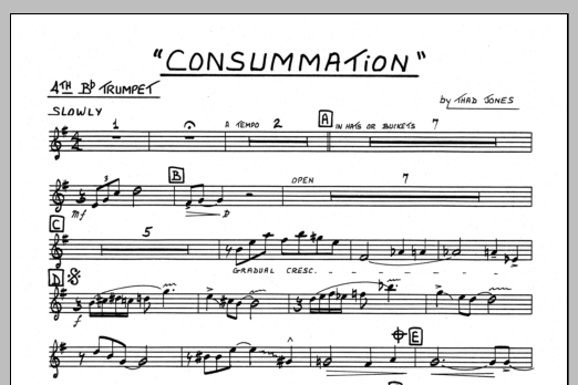 Thad Jones Consummation - 4th Bb Trumpet sheet music preview music notes and score for Jazz Ensemble including 1 page(s)