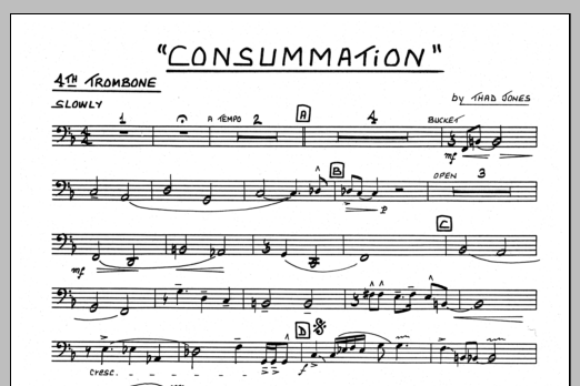 Thad Jones Consummation - 4th Trombone sheet music preview music notes and score for Jazz Ensemble including 1 page(s)