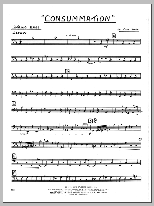 Thad Jones Consummation - Bass sheet music preview music notes and score for Jazz Ensemble including 2 page(s)