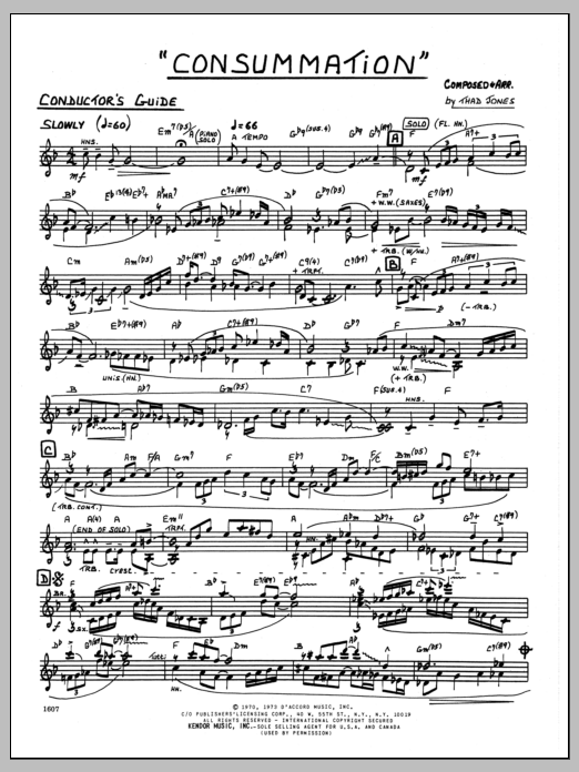 Thad Jones Consummation - Conductor sheet music preview music notes and score for Jazz Ensemble including 2 page(s)