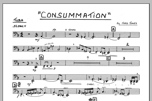 Thad Jones Consummation - Tuba sheet music preview music notes and score for Jazz Ensemble including 1 page(s)