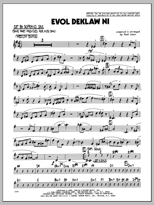 Thad Jones Evol Deklaw Ni - Bb Soprano Sax sheet music preview music notes and score for Jazz Ensemble including 4 page(s)