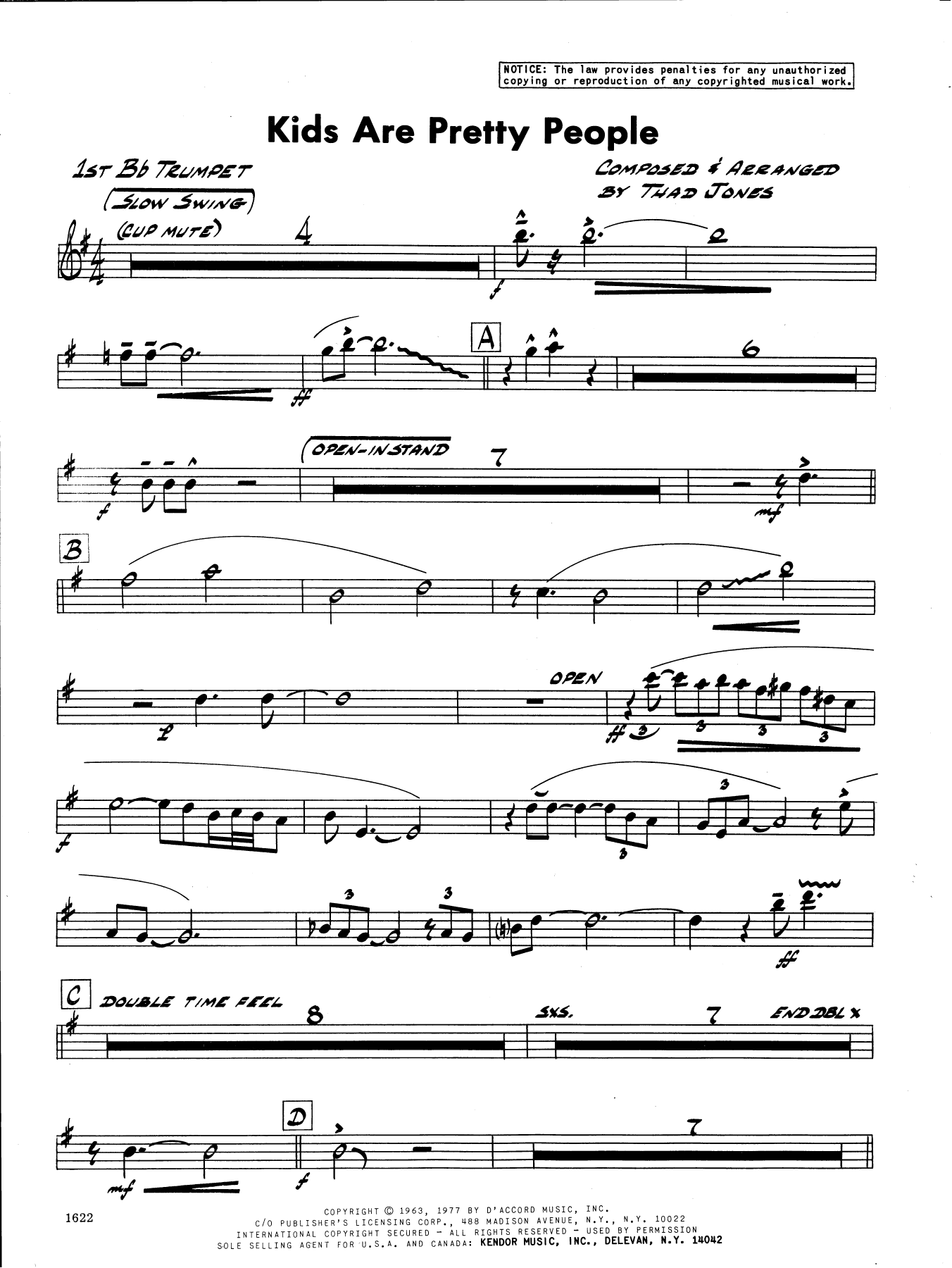 Thad Jones Kids Are Pretty People - 1st Bb Trumpet sheet music preview music notes and score for Jazz Ensemble including 2 page(s)