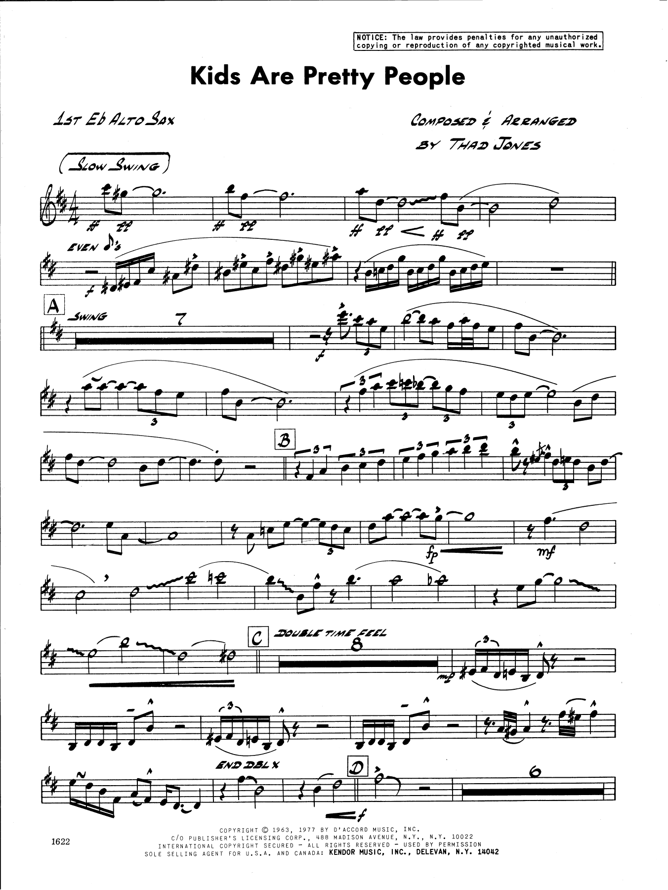 Thad Jones Kids Are Pretty People - 1st Eb Alto Saxophone sheet music preview music notes and score for Jazz Ensemble including 2 page(s)