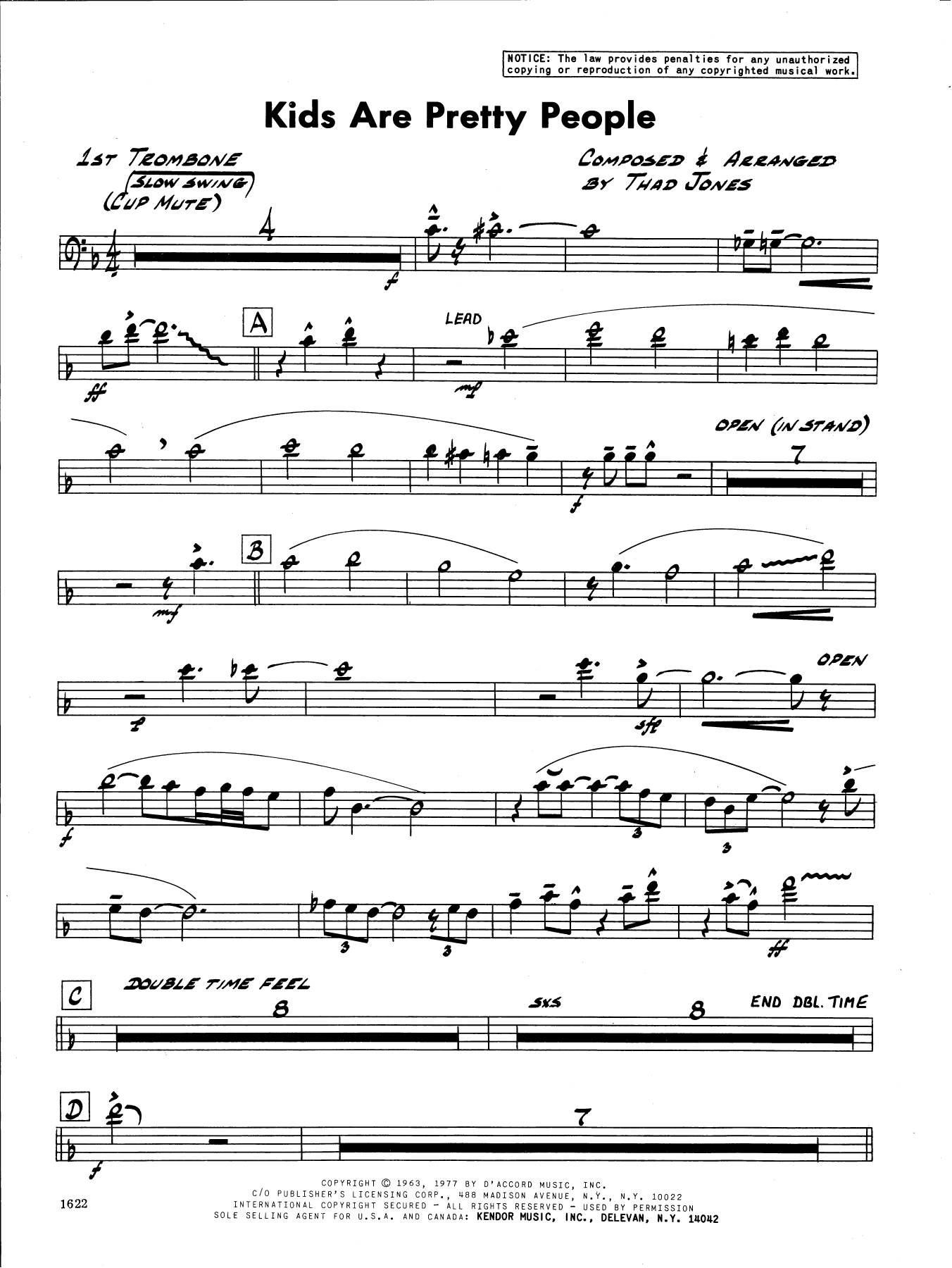 Thad Jones Kids Are Pretty People - 1st Trombone sheet music preview music notes and score for Jazz Ensemble including 2 page(s)