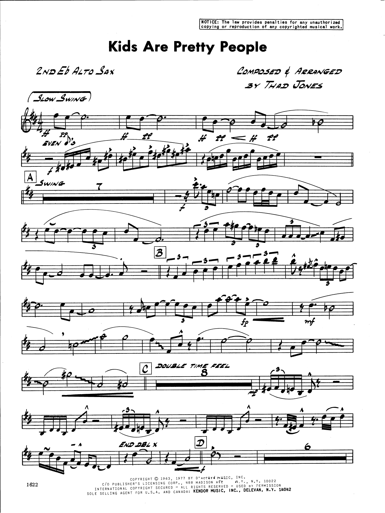 Thad Jones Kids Are Pretty People - 2nd Eb Alto Saxophone sheet music preview music notes and score for Jazz Ensemble including 2 page(s)