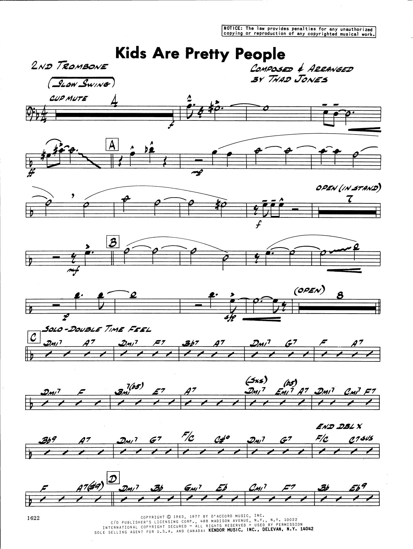Thad Jones Kids Are Pretty People - 2nd Trombone sheet music preview music notes and score for Jazz Ensemble including 2 page(s)
