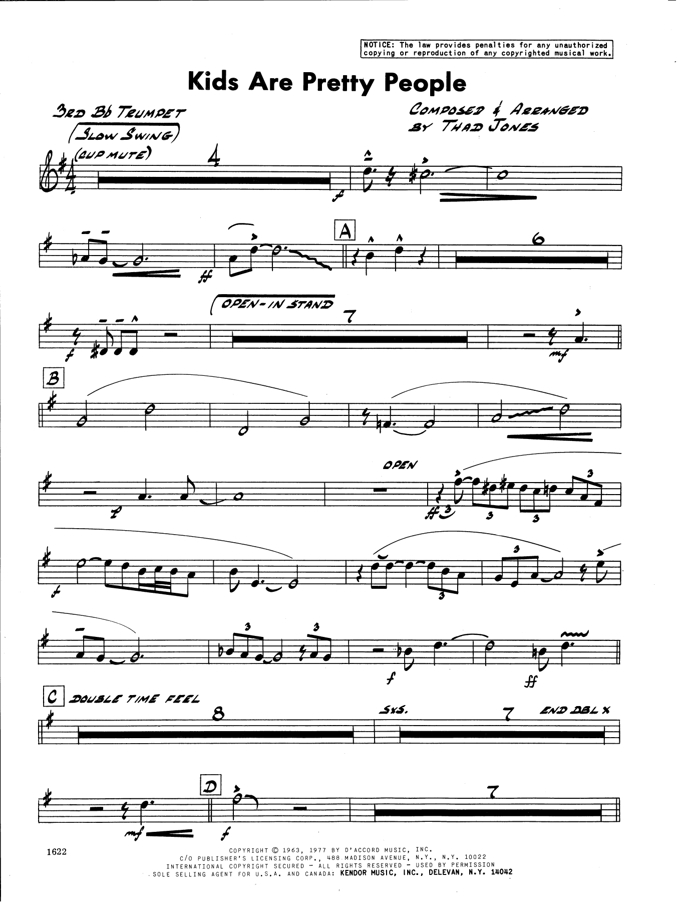Thad Jones Kids Are Pretty People - 3rd Bb Trumpet sheet music preview music notes and score for Jazz Ensemble including 2 page(s)