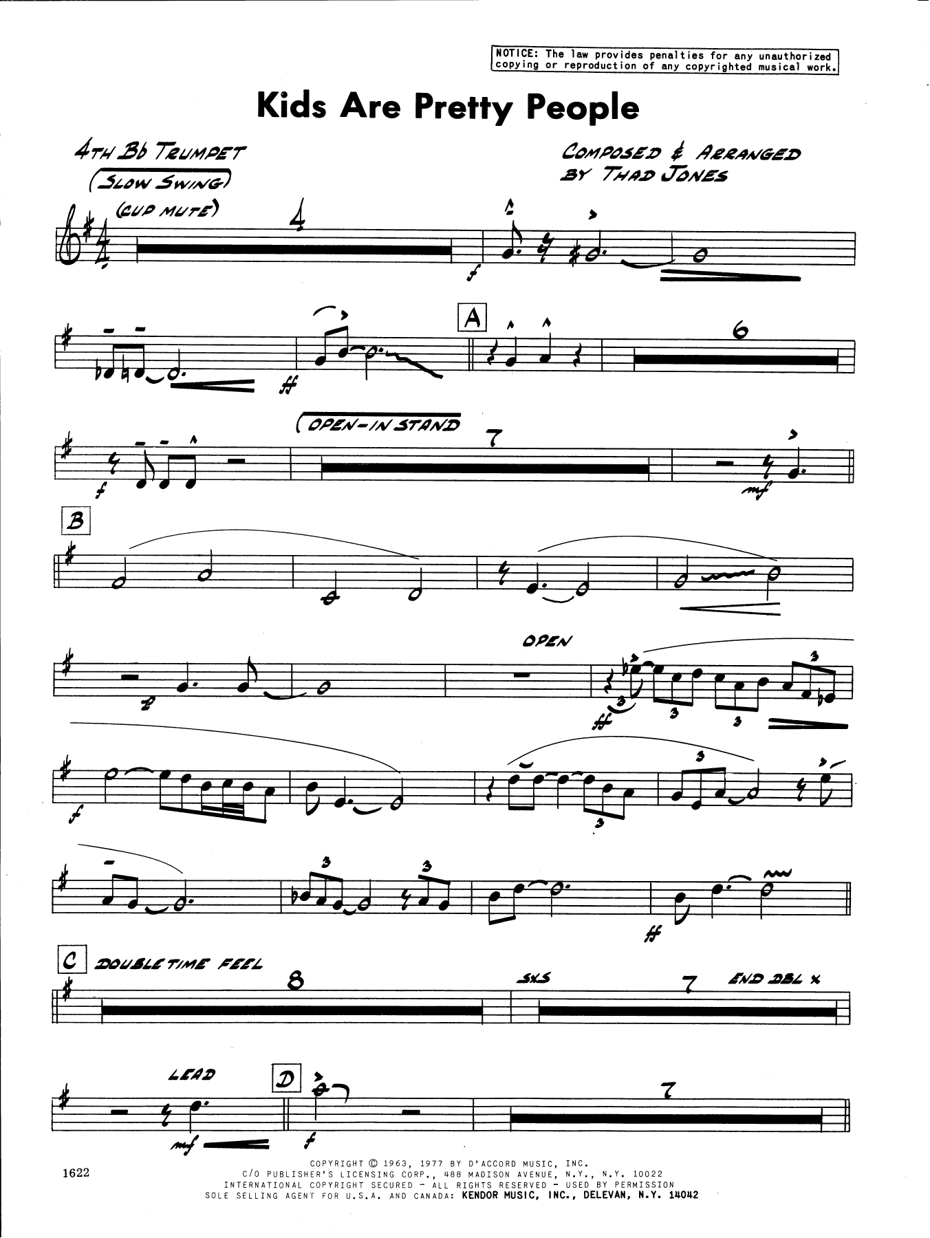 Thad Jones Kids Are Pretty People - 4th Bb Trumpet sheet music preview music notes and score for Jazz Ensemble including 2 page(s)