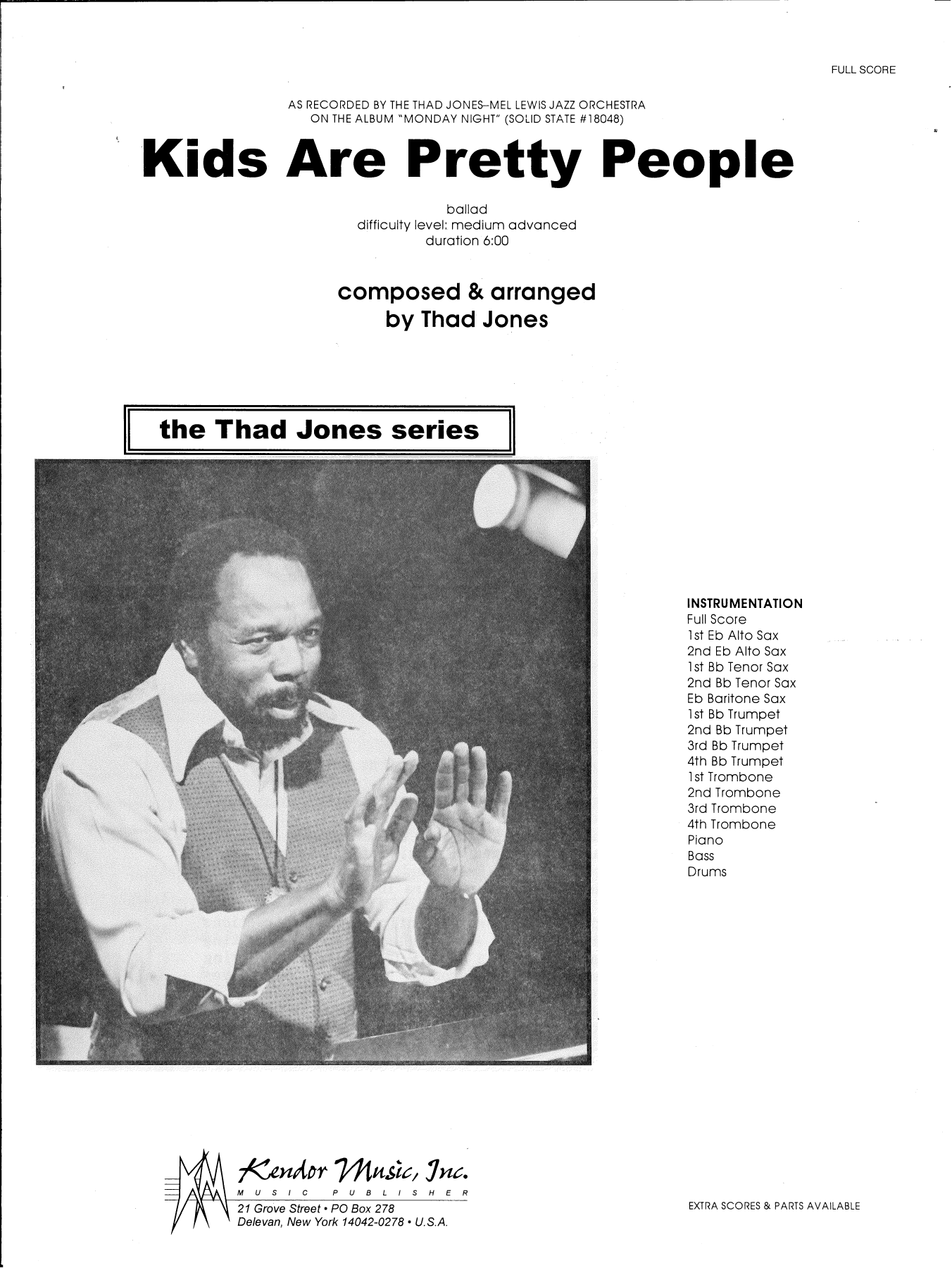 Thad Jones Kids Are Pretty People - Full Score sheet music preview music notes and score for Jazz Ensemble including 8 page(s)