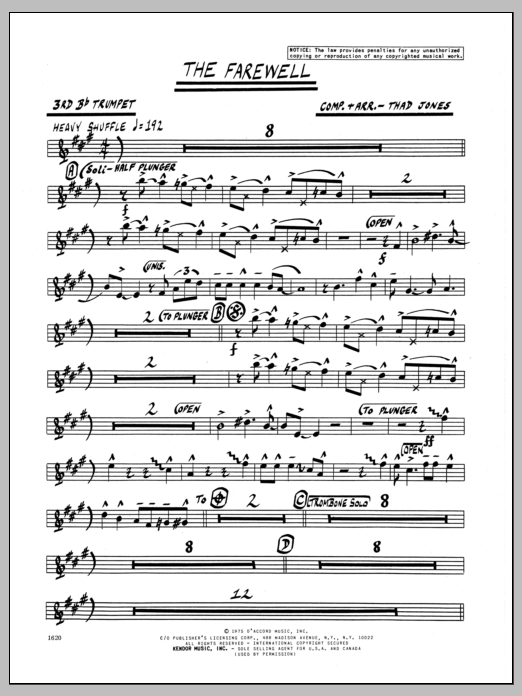 Thad Jones The Farewell - 3rd Bb Trumpet sheet music preview music notes and score for Jazz Ensemble including 2 page(s)