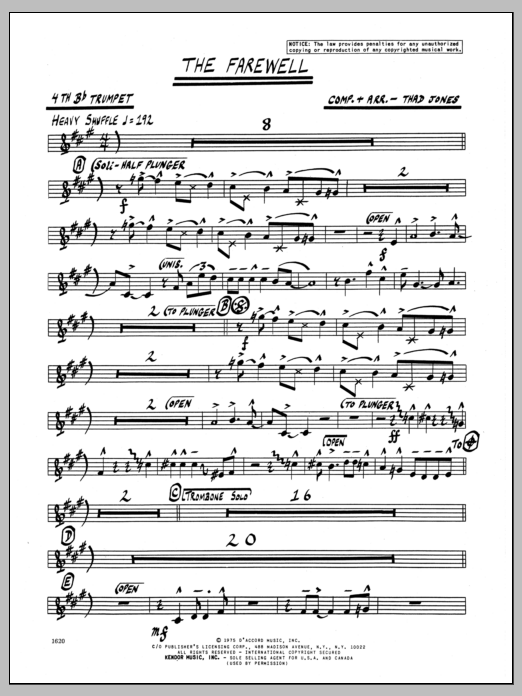 Thad Jones The Farewell - 4th Bb Trumpet sheet music preview music notes and score for Jazz Ensemble including 2 page(s)