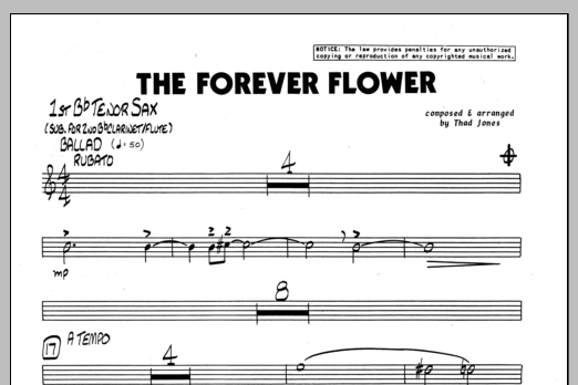 Thad Jones The Forever Flower - 1st Bb Tenor Saxophone sheet music preview music notes and score for Jazz Ensemble including 1 page(s)