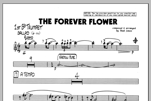 Thad Jones The Forever Flower - 1st Bb Trumpet sheet music preview music notes and score for Jazz Ensemble including 1 page(s)