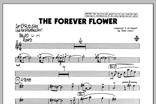 Thad Jones The Forever Flower - 1st Eb Alto Saxophone sheet music preview music notes and score for Jazz Ensemble including 1 page(s)