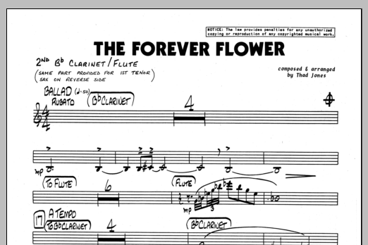 Thad Jones The Forever Flower - 2nd Bb Clarinet sheet music preview music notes and score for Jazz Ensemble including 1 page(s)
