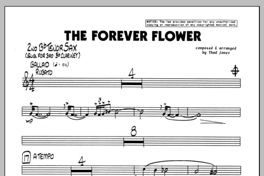 Thad Jones The Forever Flower - 2nd Bb Tenor Saxophone sheet music preview music notes and score for Jazz Ensemble including 1 page(s)