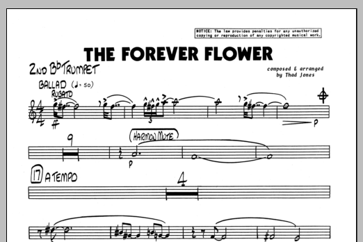 Thad Jones The Forever Flower - 2nd Bb Trumpet sheet music preview music notes and score for Jazz Ensemble including 1 page(s)