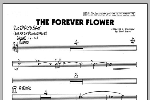 Thad Jones The Forever Flower - 2nd Eb Alto Saxophone sheet music preview music notes and score for Jazz Ensemble including 1 page(s)