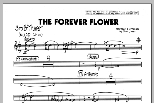 Thad Jones The Forever Flower - 3rd Bb Trumpet sheet music preview music notes and score for Jazz Ensemble including 1 page(s)