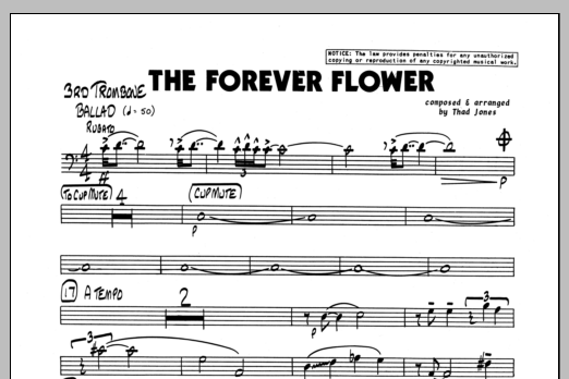 Thad Jones The Forever Flower - 3rd Trombone sheet music preview music notes and score for Jazz Ensemble including 1 page(s)