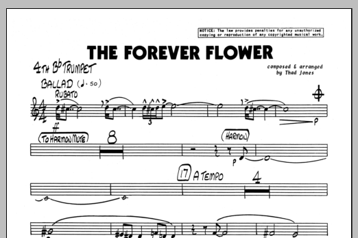 Thad Jones The Forever Flower - 4th Bb Trumpet sheet music preview music notes and score for Jazz Ensemble including 1 page(s)