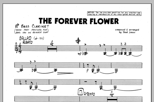 Thad Jones The Forever Flower - Baritone Sax sheet music preview music notes and score for Jazz Ensemble including 1 page(s)