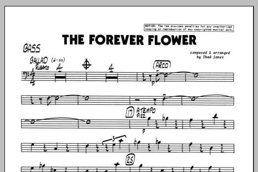 Thad Jones The Forever Flower - Bass sheet music preview music notes and score for Jazz Ensemble including 1 page(s)