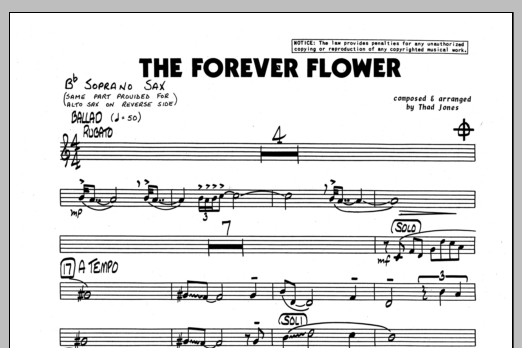 Thad Jones The Forever Flower - Bb Soprano Sax sheet music preview music notes and score for Jazz Ensemble including 1 page(s)