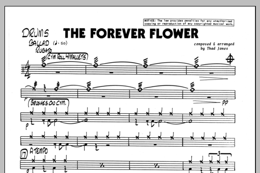 Thad Jones The Forever Flower - Drums sheet music preview music notes and score for Jazz Ensemble including 1 page(s)