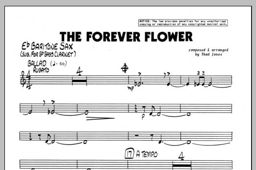 Thad Jones The Forever Flower - Eb Baritone Sax sheet music preview music notes and score for Jazz Ensemble including 1 page(s)