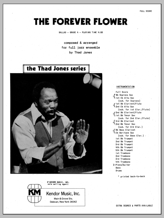 Thad Jones The Forever Flower - Full Score sheet music preview music notes and score for Jazz Ensemble including 4 page(s)