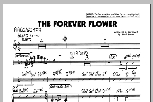 Thad Jones The Forever Flower - Piano sheet music preview music notes and score for Jazz Ensemble including 1 page(s)