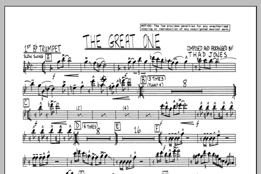 Thad Jones The Great One - 1st Bb Trumpet sheet music preview music notes and score for Jazz Ensemble including 1 page(s)