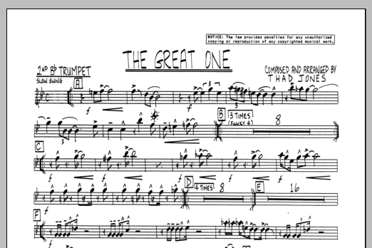 Thad Jones The Great One - 2nd Bb Trumpet sheet music preview music notes and score for Jazz Ensemble including 1 page(s)