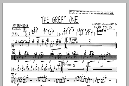 Thad Jones The Great One - 2nd Trombone sheet music preview music notes and score for Jazz Ensemble including 1 page(s)