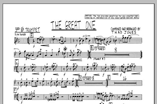 Thad Jones The Great One - 3rd Bb Trumpet sheet music preview music notes and score for Jazz Ensemble including 1 page(s)