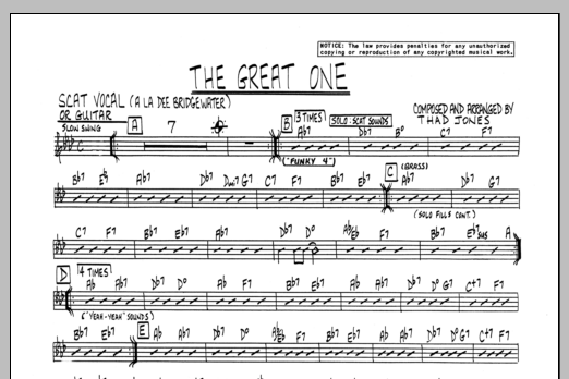 Thad Jones The Great One - Vocal sheet music preview music notes and score for Jazz Ensemble including 1 page(s)