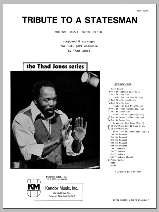 Thad Jones Tribute To A Statesman - Full Score sheet music preview music notes and score for Jazz Ensemble including 10 page(s)