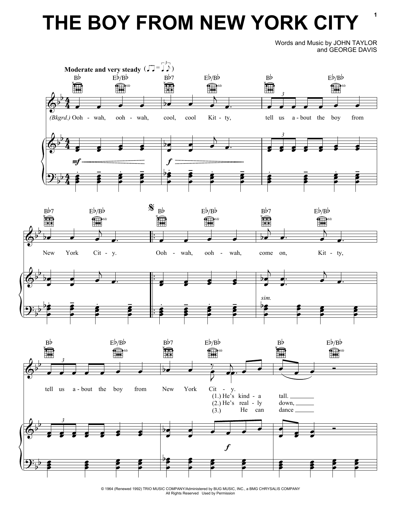 The Ad Libs The Boy From New York City sheet music preview music notes and score for Piano, Vocal & Guitar (Right-Hand Melody) including 4 page(s)