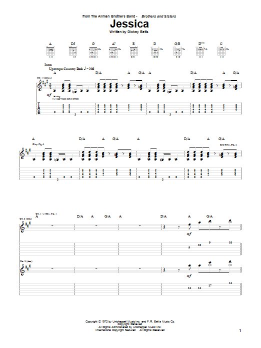 Download The Allman Brothers Band 'Jessica' Digital Sheet Music Notes & Chords and start playing in minutes