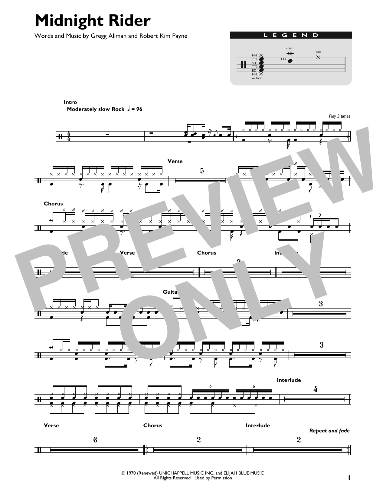 The Allman Brothers Band Midnight Rider sheet music preview music notes and score for E-Z Play Today including 2 page(s)