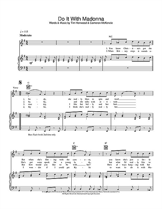 The Androids Do It With Madonna sheet music notes and chords