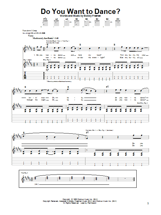 The Beach Boys Do You Want To Dance? sheet music preview music notes and score for Piano, Vocal & Guitar (Right-Hand Melody) including 6 page(s)