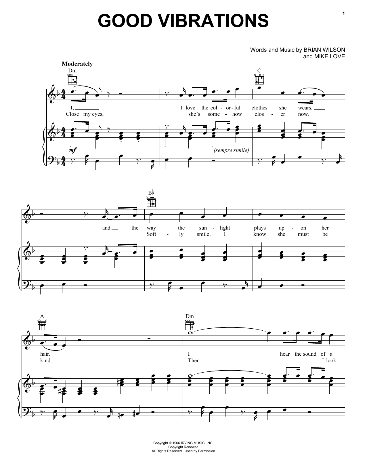 The Beach Boys Good Vibrations sheet music notes and chords