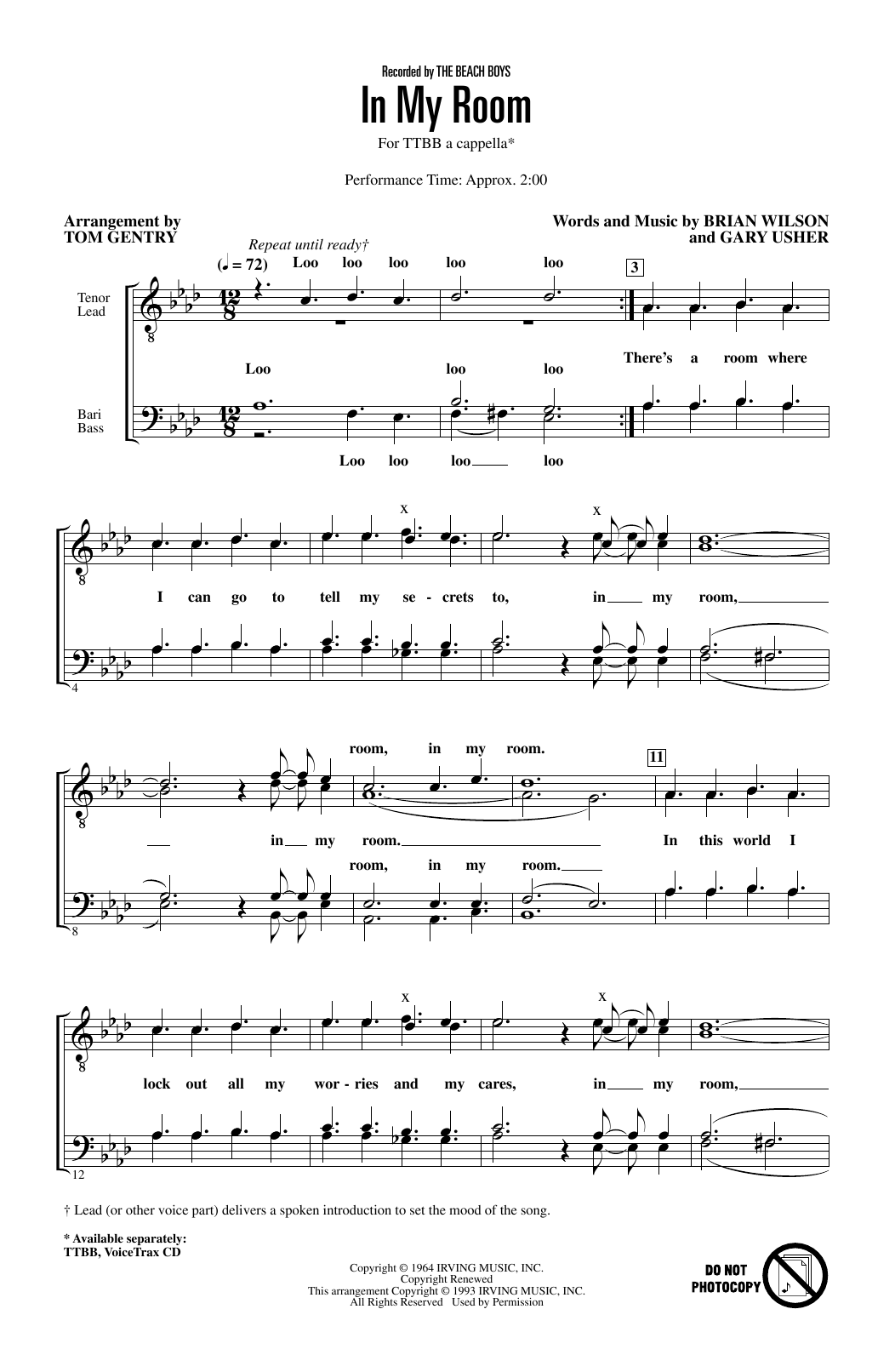 The Beach Boys In My Room (arr. Tom Gentry) sheet music preview music notes and score for TTBB Choir including 3 page(s)